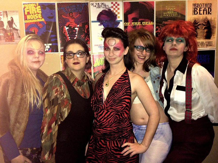 From left: Jess Hurst, Alexis Stewart, Sarah Lane, Cait Cool and Briana Mayer pose for a photograph during Totally Bowie Thursday on Jan. 14 at the V-Club.