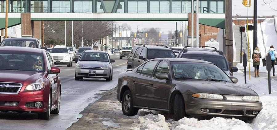 Parking problems arise around campus Monday due to the weekend snowstorm.