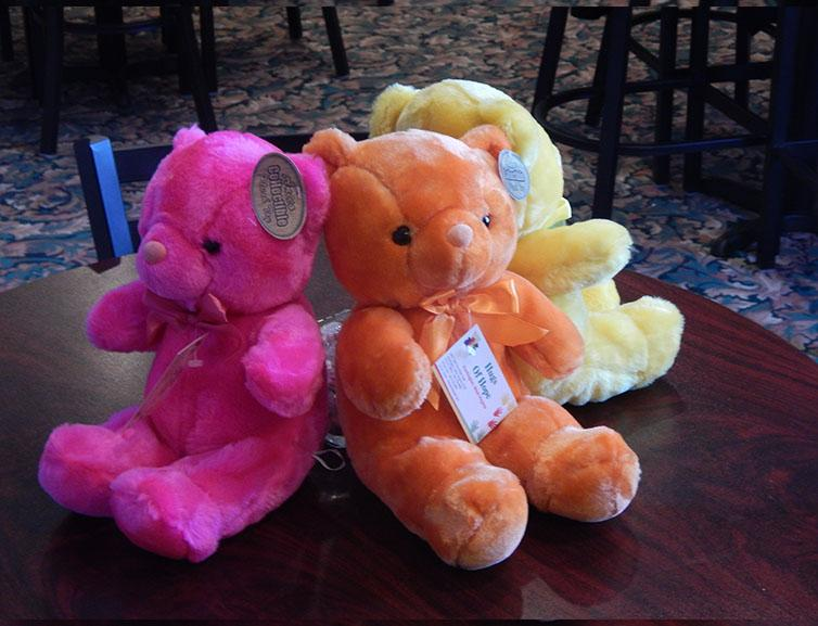 Troy Alexander/The Parthenon Hugs of Hope bears, displayed above, are delivered to children in times of tragedy.