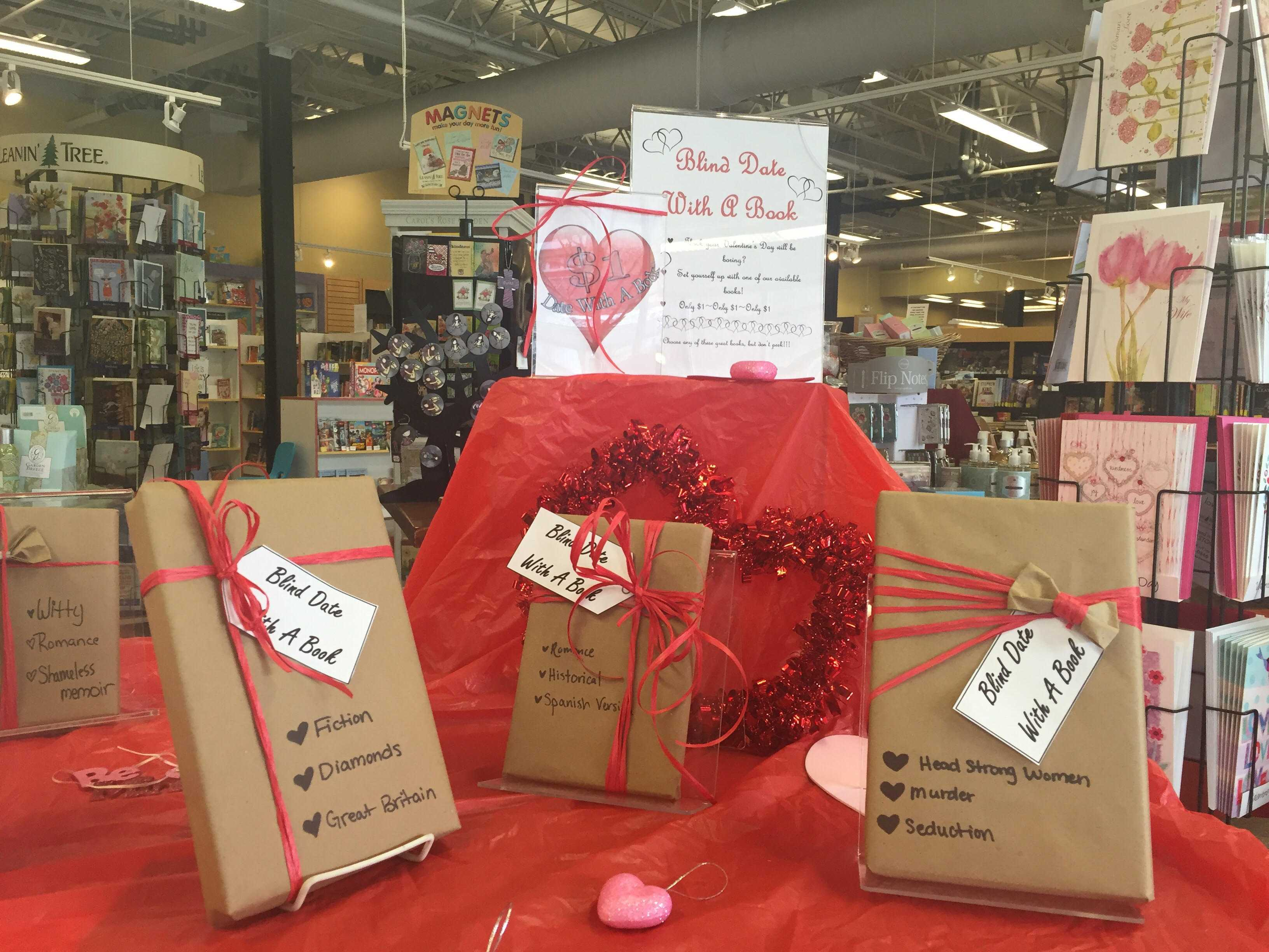 Blind Date with a Book selections are displayed at Empire Books and News on Tuesday.