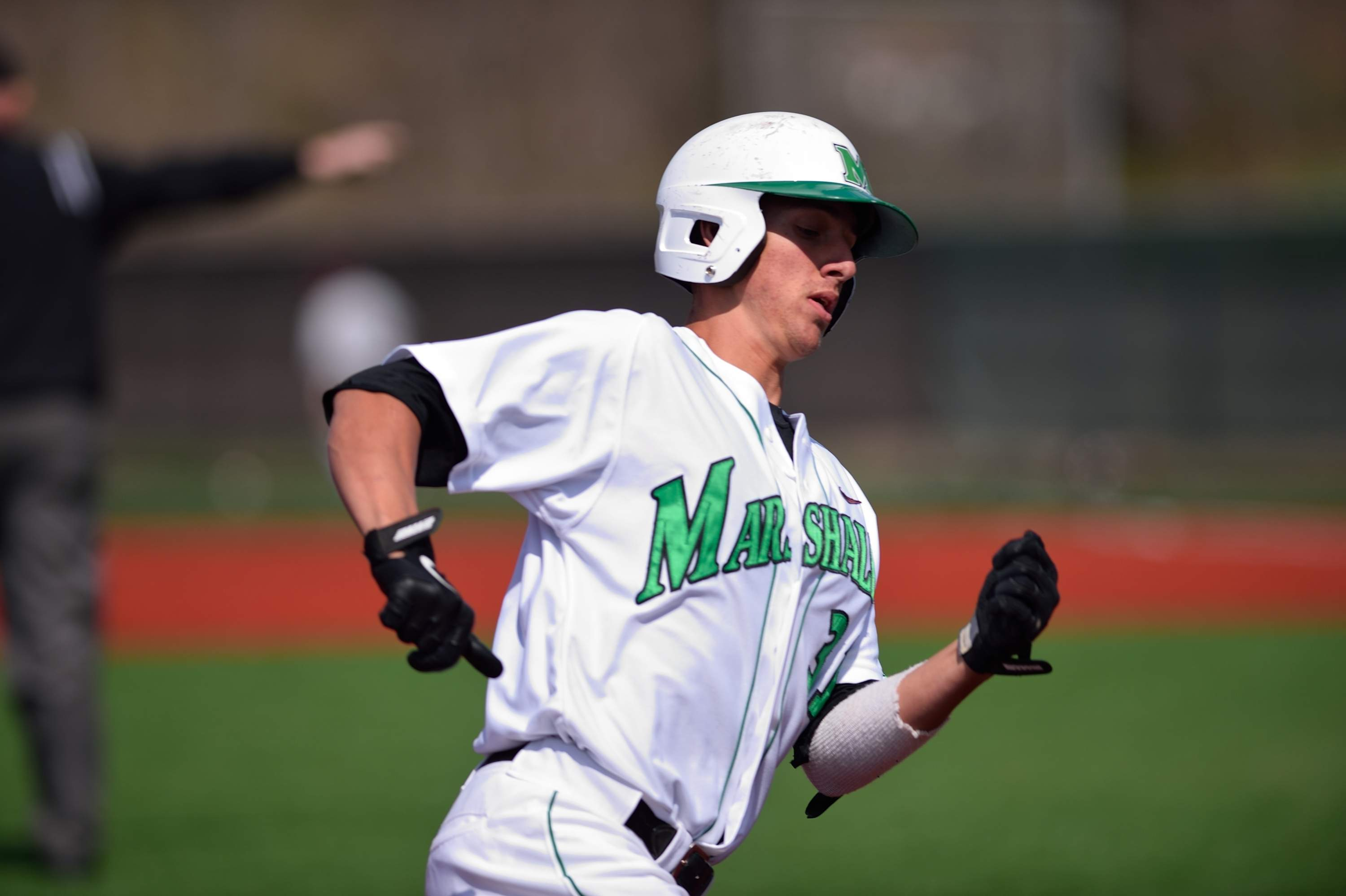 Marshall University junior outfielder Corey Bird takes the field during a game last season.