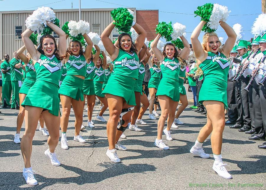Marshall+University+cheerleaders+perform+for+the+crowd+before+a+game+outside+of+Joan+C.+Edwards+Stadium+during+the+2015+football+season.