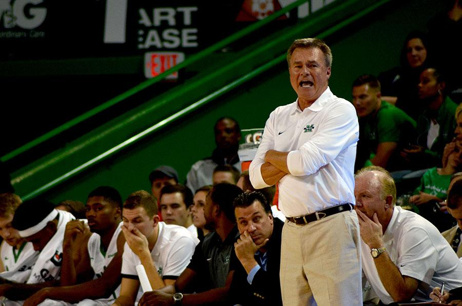 Marshall head coach Dan D'Antoni watches over his team during a game earlier this season.