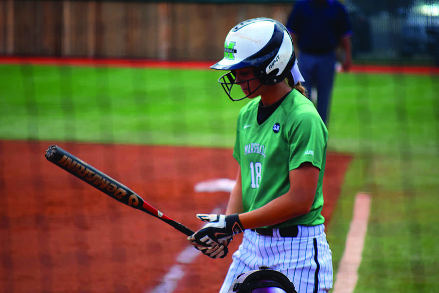 Marshall University junior outfielder Morgan Zerkle goes to bat Sept. 13 in an exhibition game against the University of Charleston.