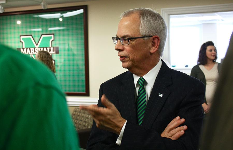 President Jerome A. Gilbert speaks with students, faculty, and other members of the Marshall community during his office's open house, February 4, 2016.