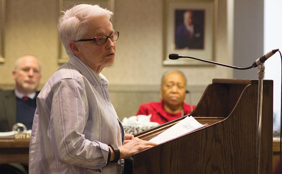 Dr. Kat Williams, Associate Professor of American History at Marshall University, voices her concerns about LGBTQ equality at the Huntington City Council Meeting, February 8, 2016.