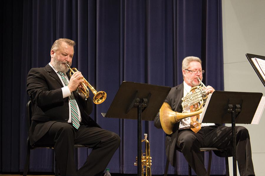 Director of Bands Brian Walden performs alongside Dr. Stephen Lawson during the Faculty Brass Quintet in Smith Recital Hall, February 11, 2016.