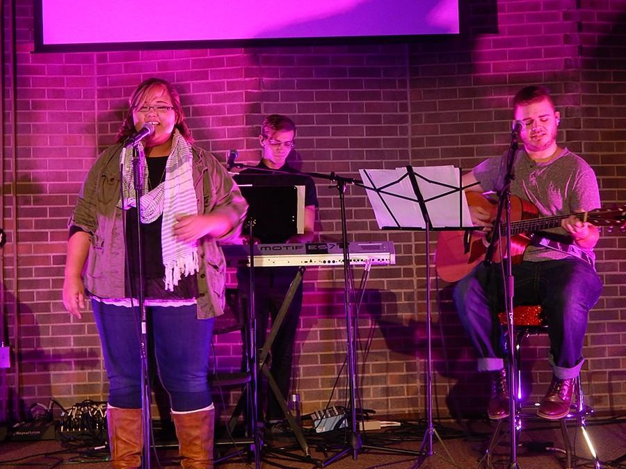 InsideOut+worship+team+members+%28from+left%29+Brandi+Boltz%2C+Justin+Hesson+and+Mason+Rimmer+open+up+the+Love+Week+service+Monday+night+at+the+Campus+Christian+Center.