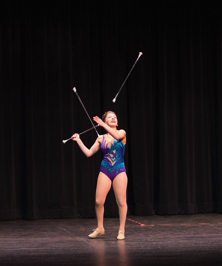 Kylie+Robbins+performs+her+bit%2C+%22Ab-Salute+Twirling%22+as+the+first+act+at+Thunder+on+the+Stage%2C+Feb.+29%2C+2016.