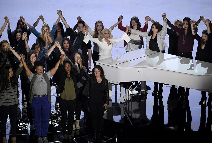 Lady Gaga, center, performs