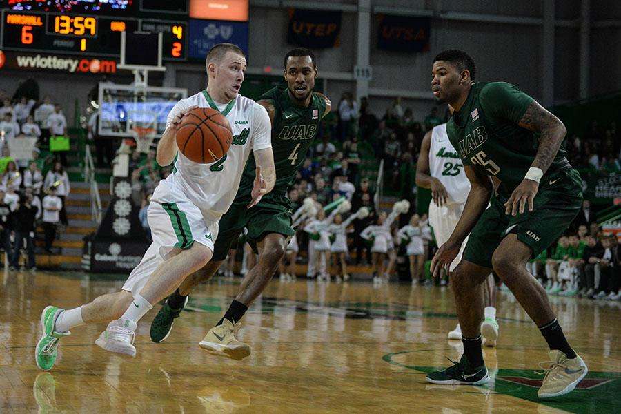 Guard Stevie Browning drives past a defender against the University of Alabama at Birmingham Jan. 30.