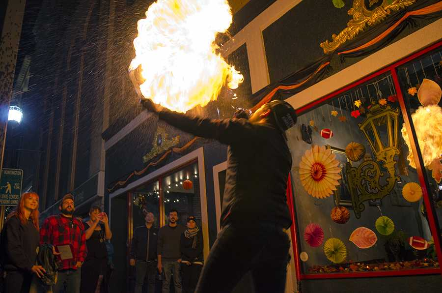 Cory Hughes demonstrates fire breathing Nov. 6 during the Culture Storm event at The Lantern. The purpose of the event is to show the local talent of artists and performers in Huntington.