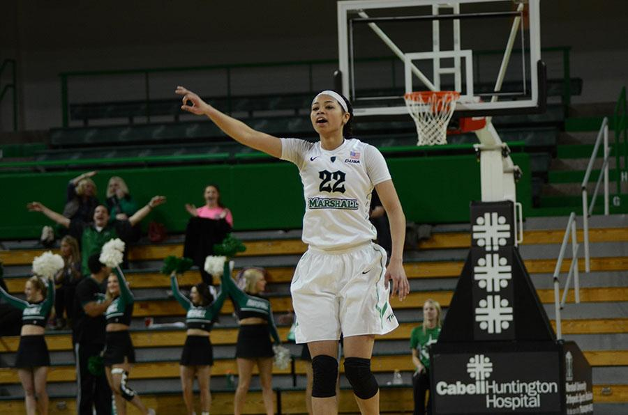 Kiana Evans calls out an assignment to a teammate in a game against UTEP Thursday.