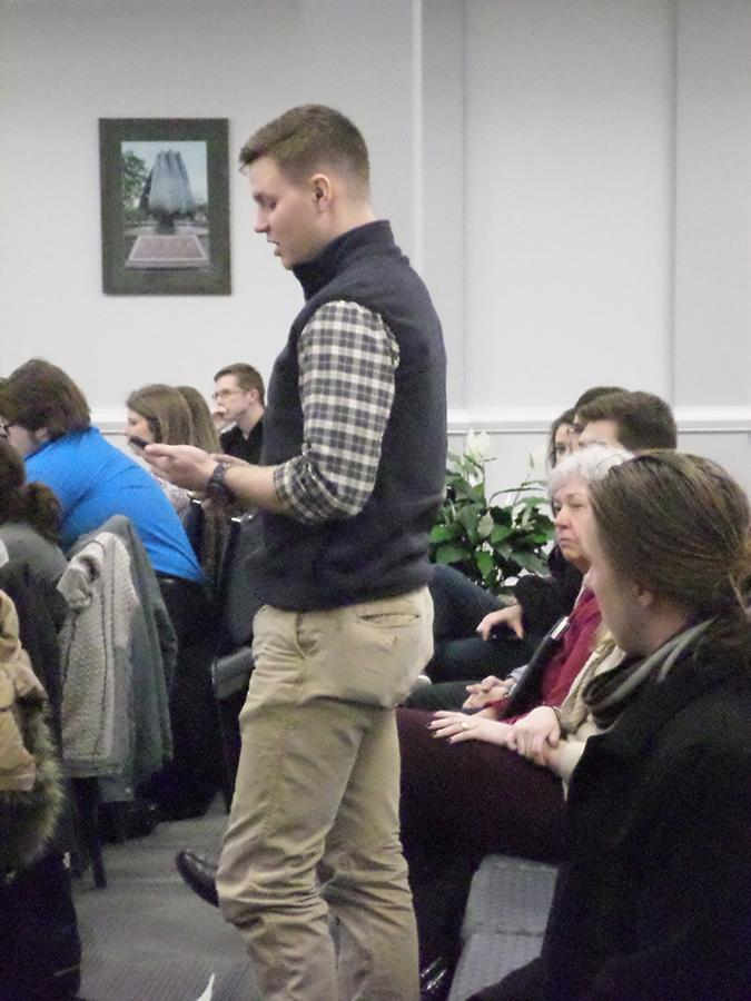 Second-year graduate public administration student Cody Jones voices his opinion Tuesday of SGA's Feb. 10 failed resolution to condemn the West Virginia legislature's Religious Freedom and Restoration Act.