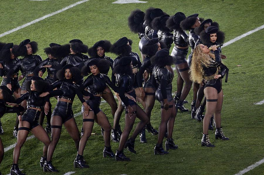 Beyoncé performs during halftime of the NFL Super Bowl 50 football game Sunday, Feb. 7, 2016, in Santa Clara, Calif.