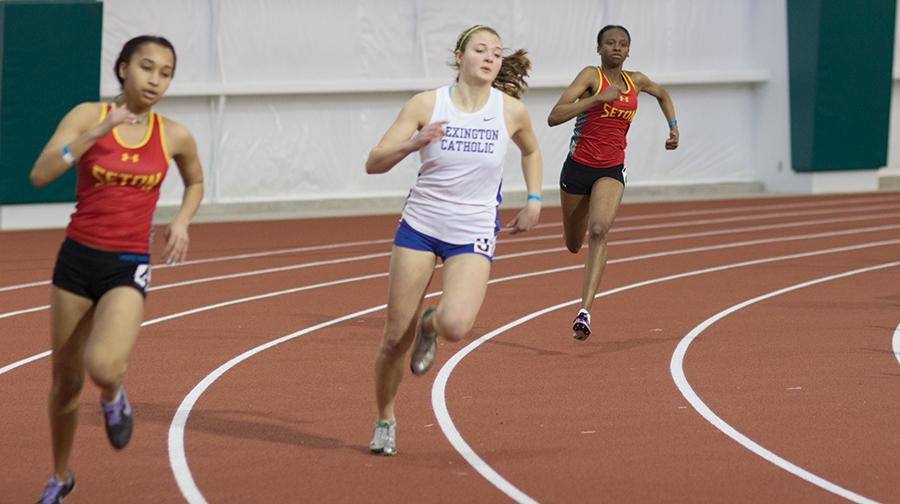 Runners from Lexington Catholic and Seton High Schools compete at the Chris Cline Center, February 27, 2016