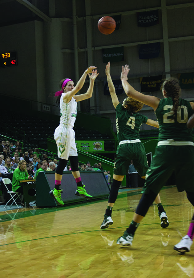 Sophomore guard Taylor Porter shoots a 3-pointer against UAB Feb. 25.