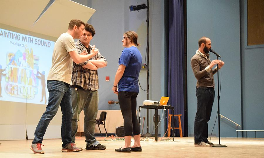 Blue Man Group member Dan Carter and Jesse Nolan, assistant professor of Jazz Studies lead students in exploring  non-verbal communications skills to illustrate the significance of conversation via body language during the interactive workshop