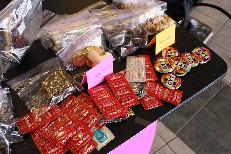 Lifestyle condoms offered at the sex week bake sale, March 14, 2016.
