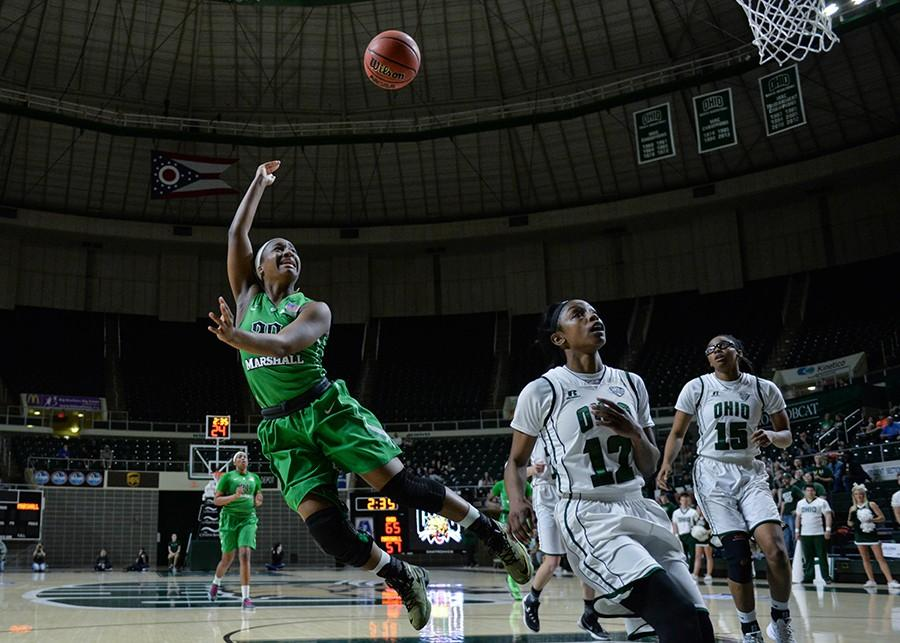 Lexi Browning/The Parthenon Marshall's Norrisha Victrum aims for a two-point shot as the Herd takes on the Bobcats in the postseason WNIT game Thursday in Athens, Ohio.