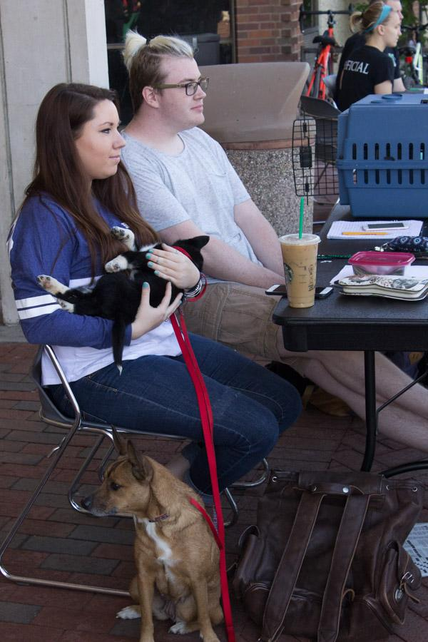 Fraternity members Matthew Adkins and Emily Doane help host SIgma Alpha Epsilon's Rent-A-Puppy booth at the Memorial Student Center, March 30, 2016.