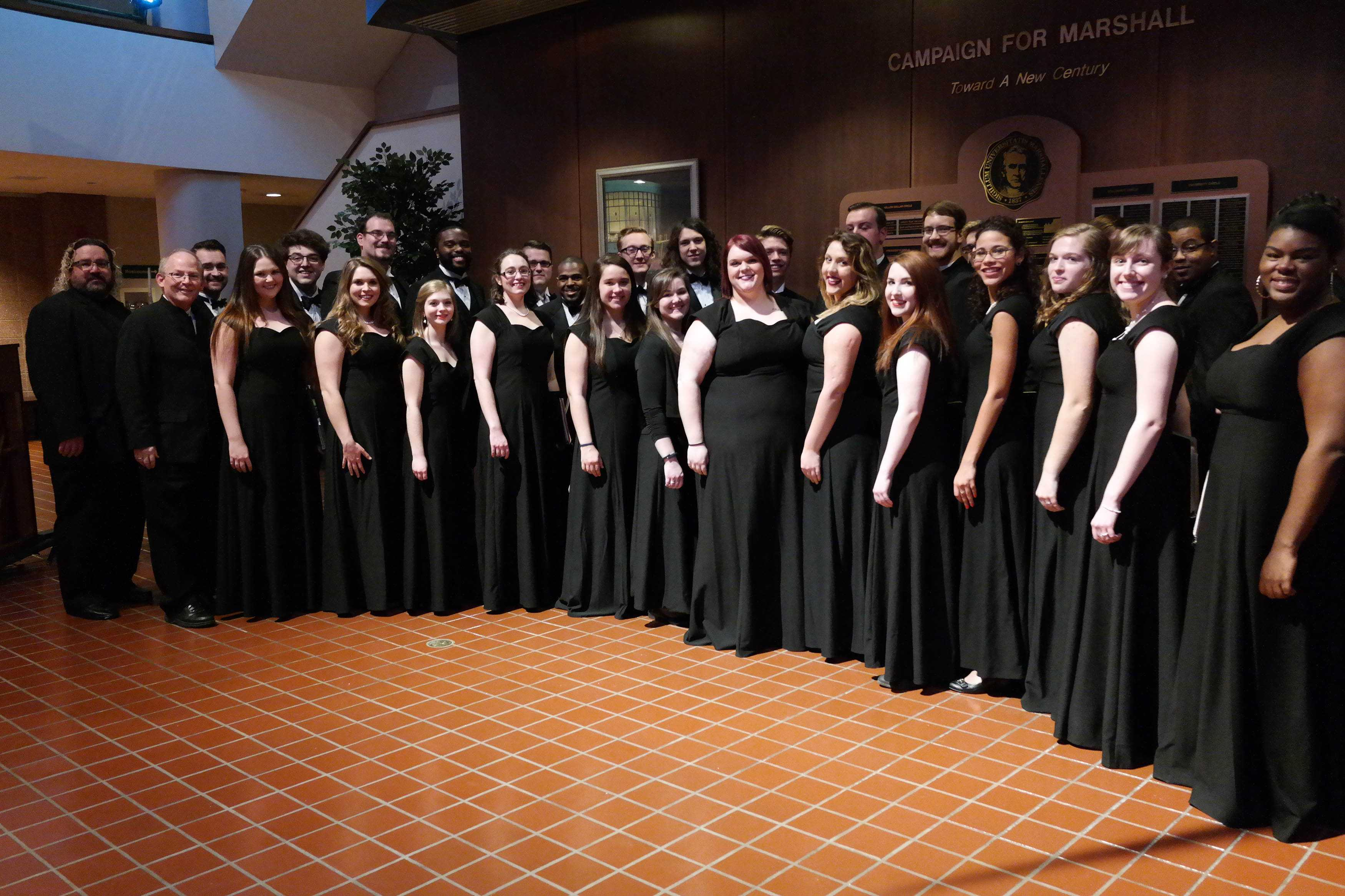 Marshall University's Chamber Choir is photographed in the Joan C. Edwards Playhouse lobby after a performance.