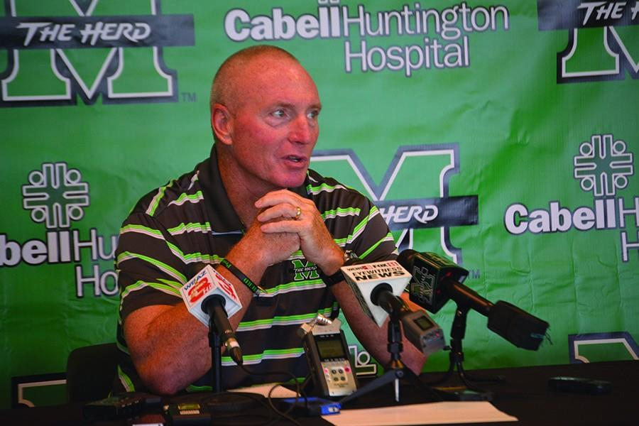 Marshall+football+head+coach+Doc+Holliday+speaks+to+the+media+during+the+2015+season.+