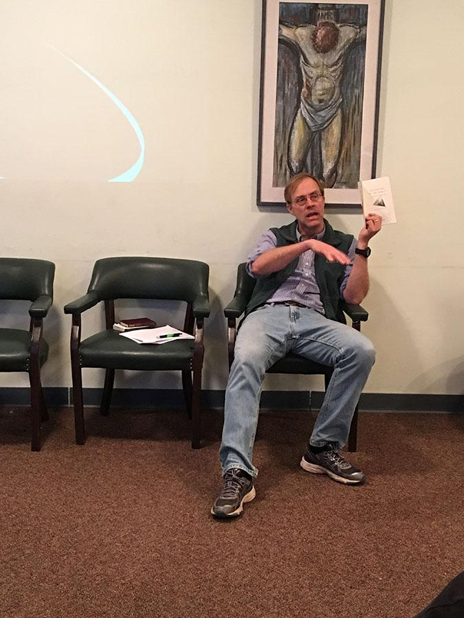 Marshall English professor Tim Burbery addressed UKirk students about understanding and enjoying the trinity Tuesday night at the Campus Christian Center.