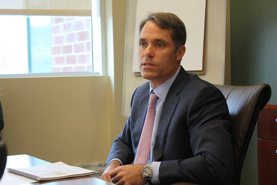 Perella Weinberg Partner Asset Manager Trey Thompson discusses investment strategy options with the Board of Governors Friday in the fourth floor conference room of the Applied Engineering Complex.