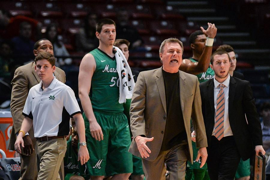 An irate Coach D'Antoni shouts over a call as the Herd takes on Middle Tennessee for the C-USA Men's Basketball Semifinals on Friday in Birmingham, AL.