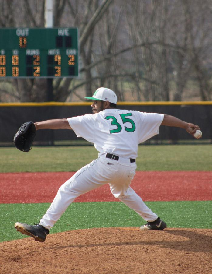 Marshall University sophomore pitcher Fernando Guerrero throws a pitch during a game earlier this season.