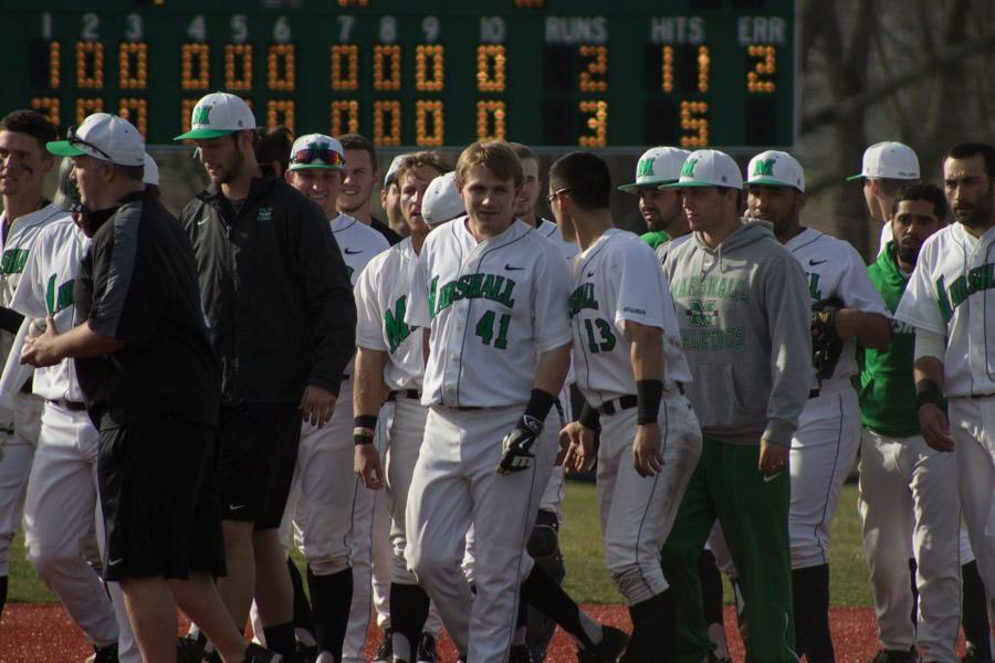 Members of the Marshall University baseball team take the field during a game earlier this season.