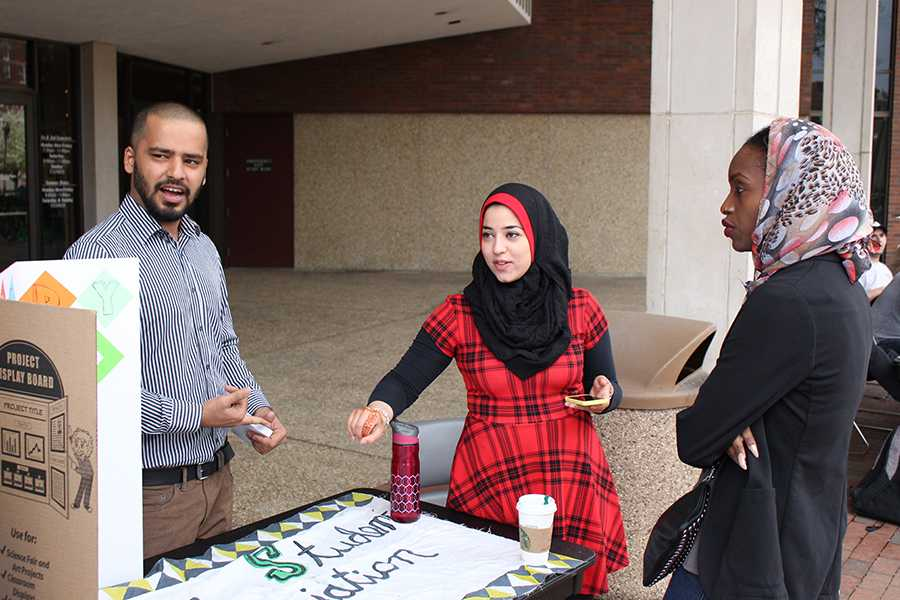 (From Left) Muslim Student Assosication member Kamil Khan and Vice President Malak Khader play