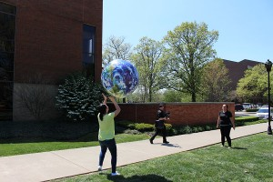An inflatable globe brought to entertain students participating in Earth Day outside the Memorial Student Center, April 20, 2016.