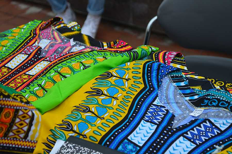 Traditional African clothing and rugs were sold at the MSC plaza today during African Explosion.