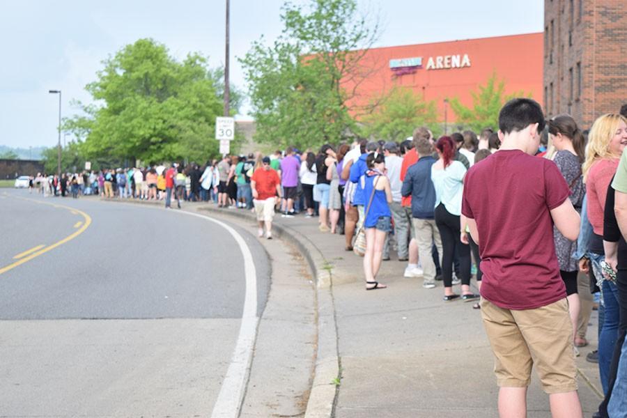 Line, behind the Big Sandy Superstore Arena on Veterans Memorial Boulevard for the Bernie Sanders rally, April 26, 2016.
