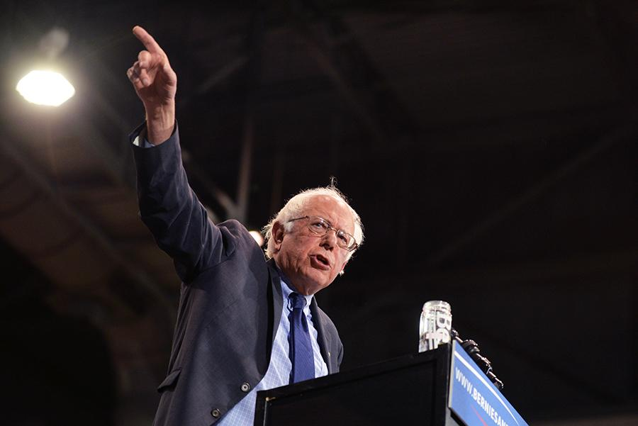 Presidential candidate Bernie Sanders delivers a speech during the