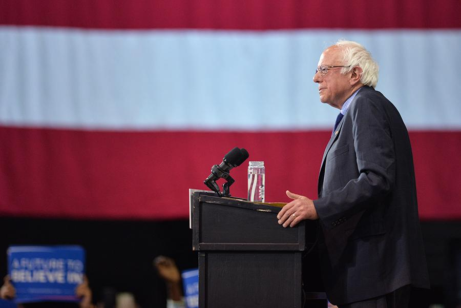 Presidential candidate at the time Bernie Sanders delivers a speech during the