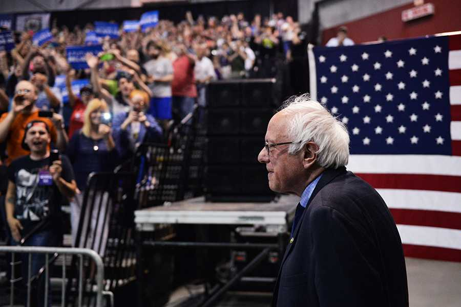 Presidential candidate Bernie Sanders hosts a campaign rally on Tuesday, April 26 at the Big Sandy Superstore Arena in Huntington, W.Va. The