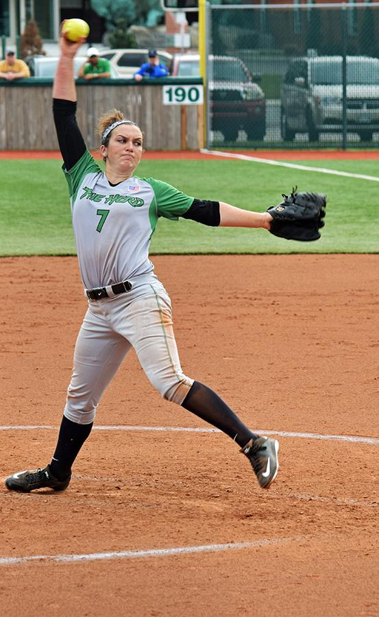 Herd sophomore Ali Burdette throws a pitch in a game during the 2016 season.