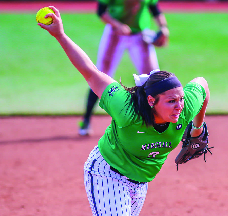 Marshall pitcher Jordan Dixon winds up up in a game last season.