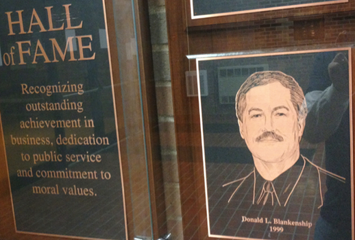Don Blankenship plaque in the Lewis College of Business Hall of Fame. The plaques recognize outstanding achievement in business, dedication to public service and commitment to moral values.