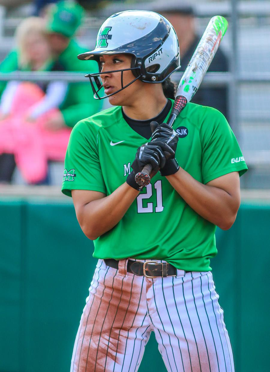 Marshall University senior Kaelynn Greene steps up to the plate during a game earlier this season at Dot Hicks Field.
