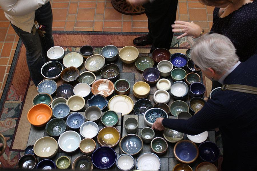 Marshall University ceramics and clay club students made over 1,000 bowls for Empty Bowls in 2016.