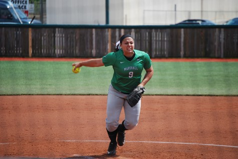 Marshall University junior pitcher Jordan Dixon throws a pitch in a game last season. Dixon's 33 wins last season tied the program single-season program record leading to her being All-Conference USA Second Team.