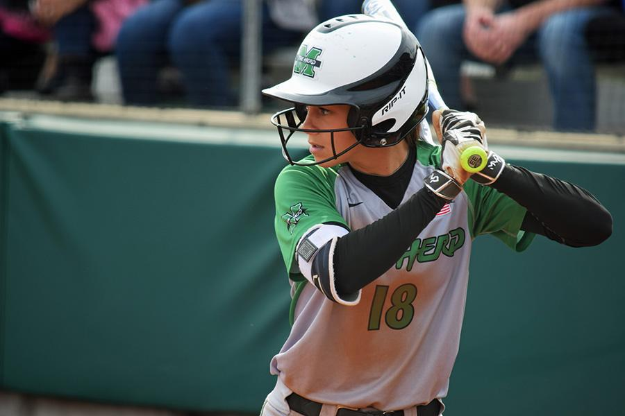 Marshall University sophomore Morgan Zerkle stars down a pitch during a game earlier this season.