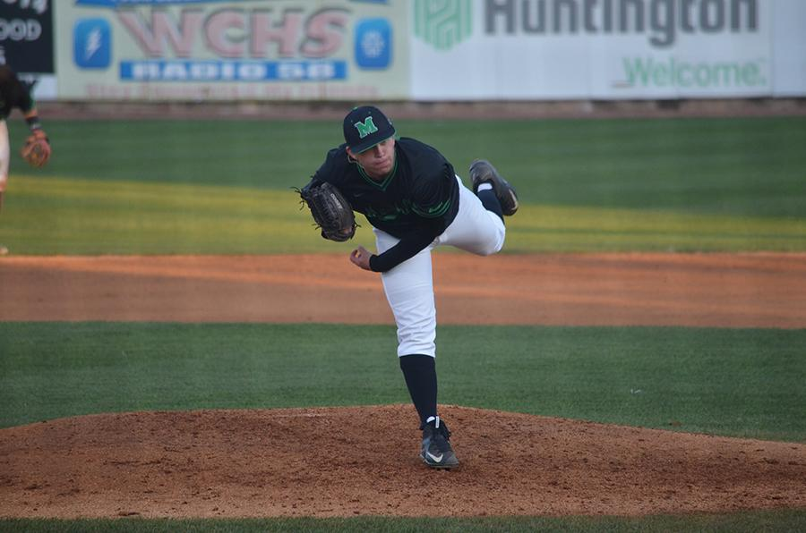 Freshman pitcher Joshua Shapiro winds up for a pitch in a game earlier this season. Shapiro was named the Conference USA Pitcher of the Week after pitching seven scoreless innings in the team's victory over Florida Atlantic University Sunday.