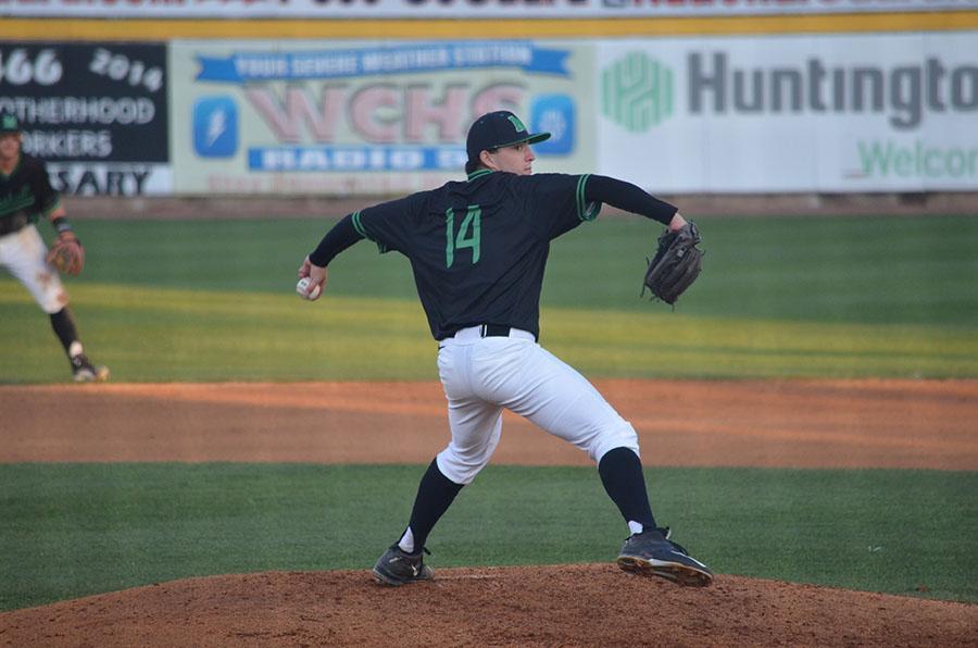 Marshall University freshman Joshua Shapiro throws a pitch Tuesday against West Virginia University at Appalachian Power Park.