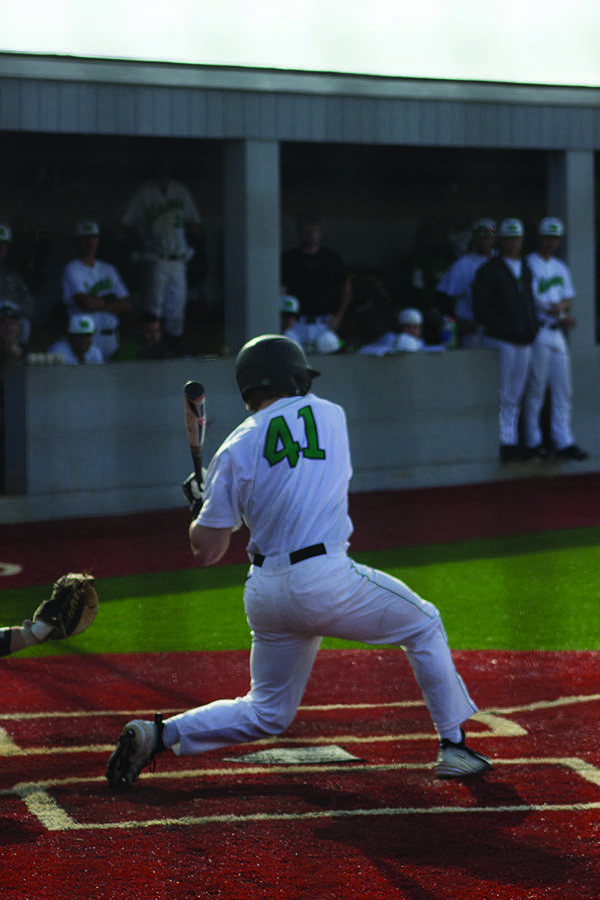 Marshall baseball freshman outfielder Andrew Zban swings at a pitch in a game earlier this season.