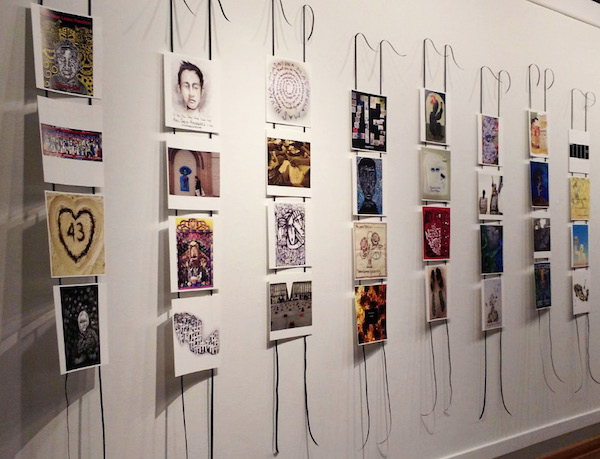 """Various contributions are displayed in the Birke Art Gallery as part of the """"Tribute to the Disappeared"""" exhibit, which will continue until Oct. 28."""